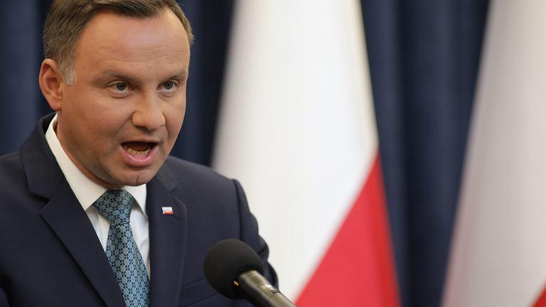 Prezydent RP Andrzej Duda wetuje ustawy o SN i KRS. Warszawa, 24 lipca 2017