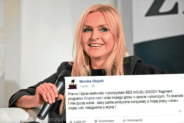 Monika Olejnik na Facebooku: Wykorzystali mój głos bez zgody