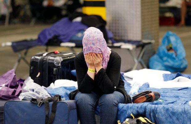 Kobieta w punkcie rejestracji uchodźców w Isenburgu w Niemczech