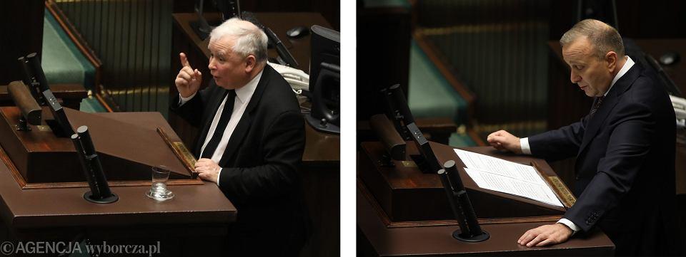 Jarosław Kaczyński i Grzegorz Schetyna podczas przemówień - debaty nad wotum nieufności dla rządu PiS