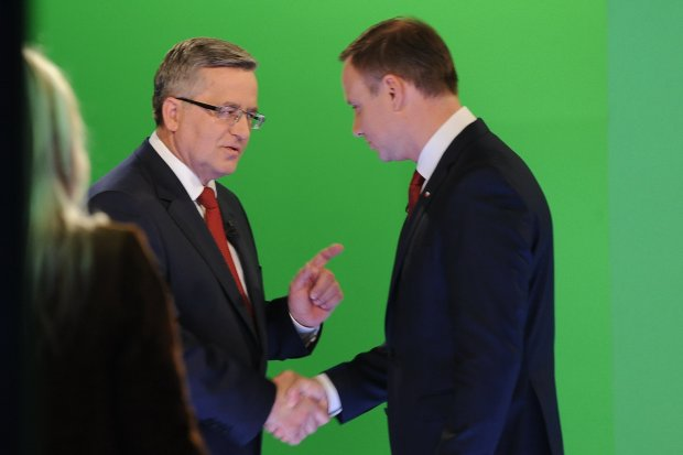 Bronisław Komorowski i Andrzej Duda podczas debaty przedwyborczej