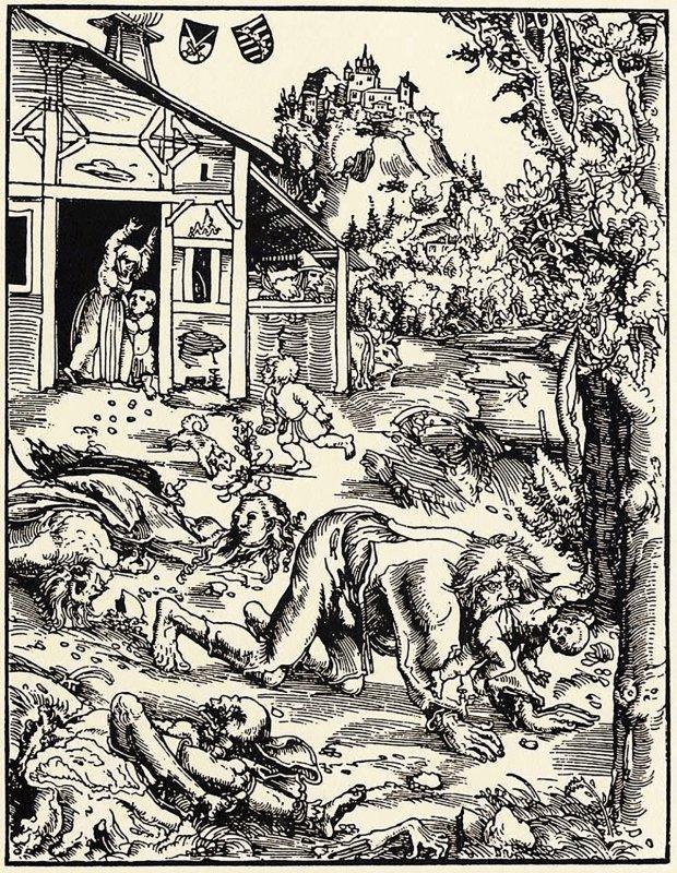 XVII-wieczna rycina z Garnierem jako wilkołakiem, z prawej - okładka książki Caspara Herbera z 1581 r. opisującej zbrodnie Gnipperteingi