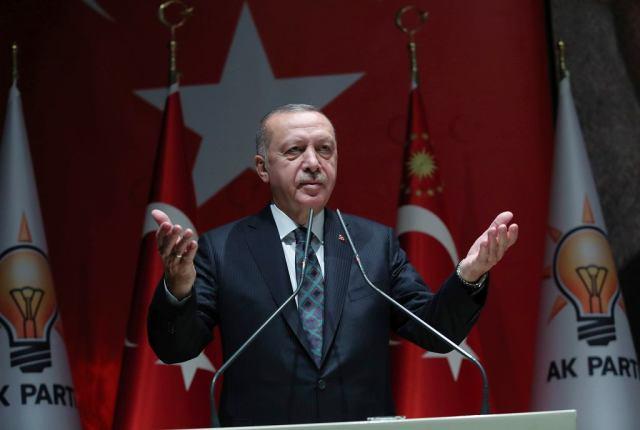 10.10.2019, Prezydent Turcji podczas przemówienia