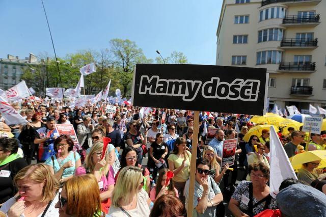 Protest nauczycieli w Warszawie, 21 kwietnia 2018 r.