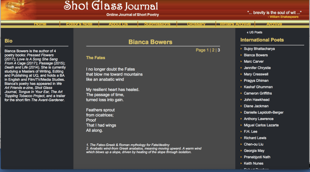 3 New Poems in Issue #25 Shot Glass Journal - Bianca Bowers