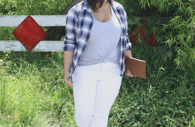 spring plaid white jeans style hack