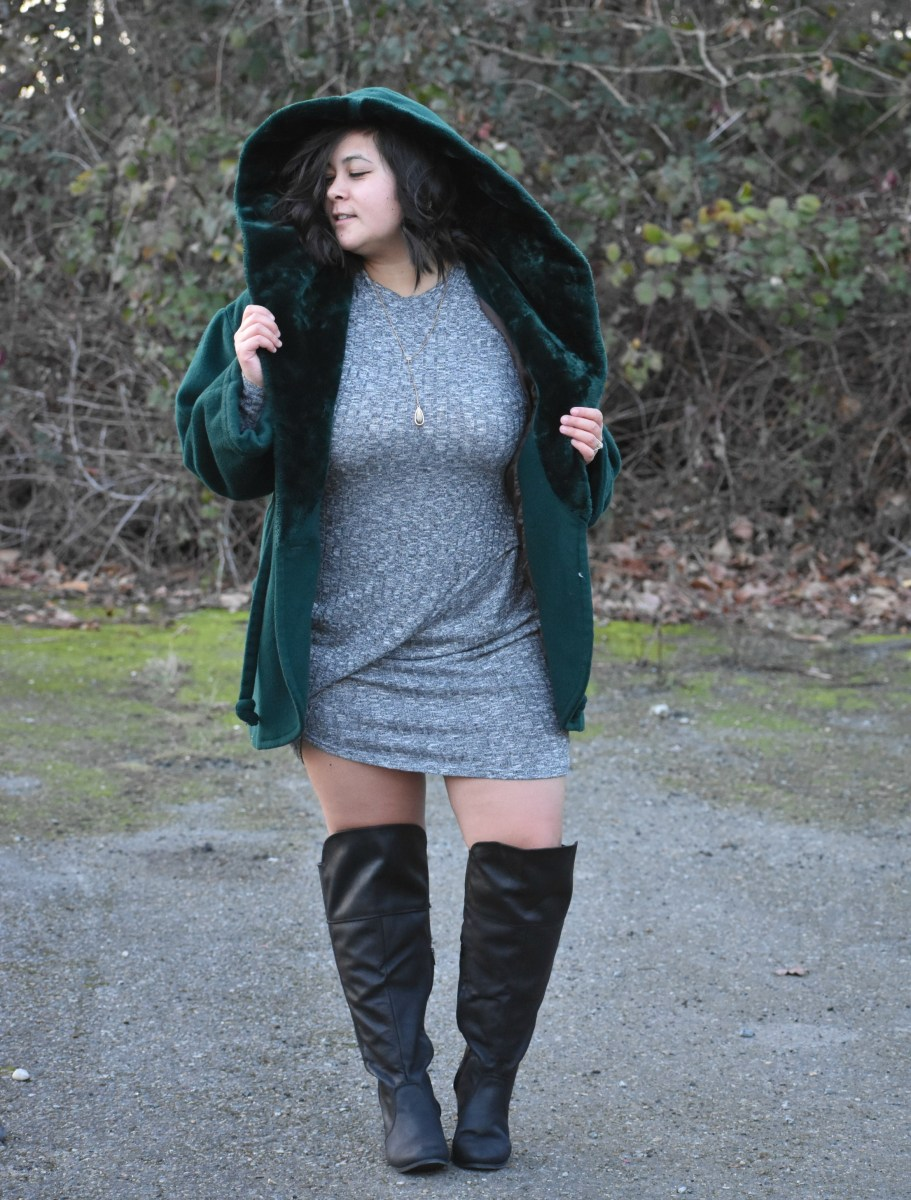 Little green riding hood in OTK wide calf boots; OOTD