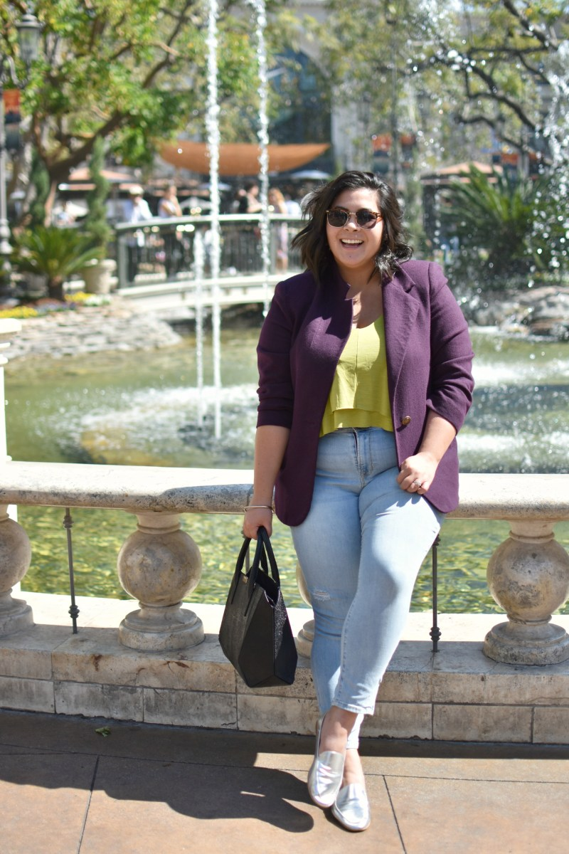 Summer at the Grove LA in a purple jacket; OOTD