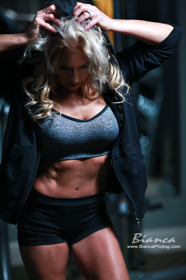 dramatic shot of blond fitness shoot