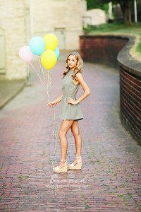 Stunning Blond High School Senior with Ballons