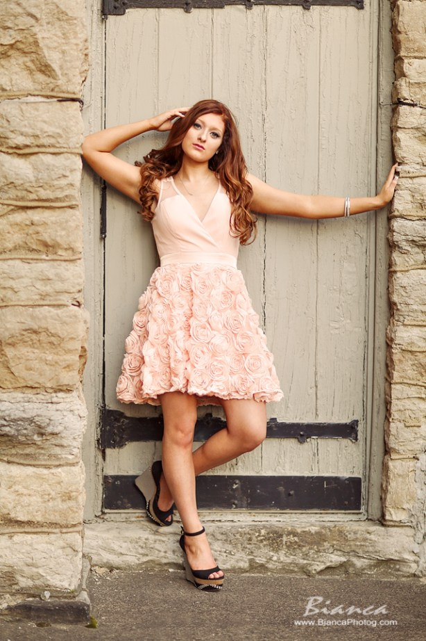 Redhead in dress for senior portrait