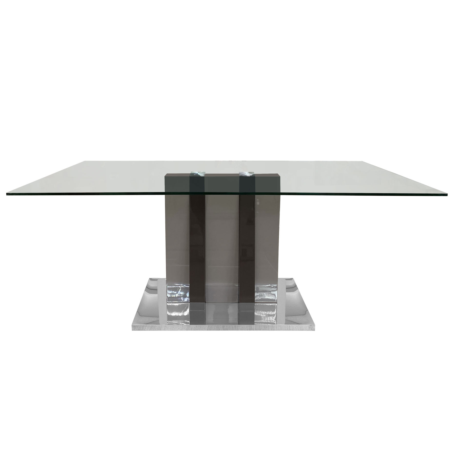 champagne dark brown dining table mdf high gloss stainless steel base tempered glass top modern living room