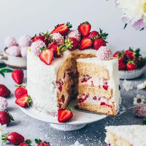 Strawberry Coconut Cake Vegan Baking Tips Bianca Zapatka Recipes