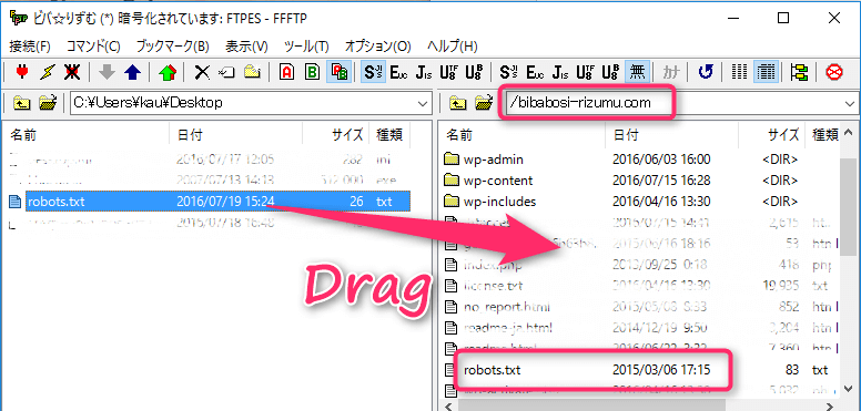 robots.txtをサーバーにアップする方法。FTPソフトにて。