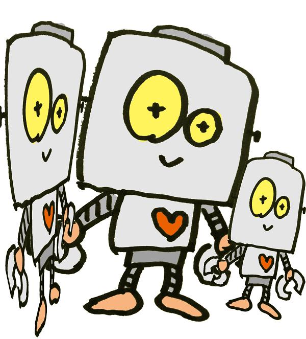 仲良し親子ロボットみたい。
