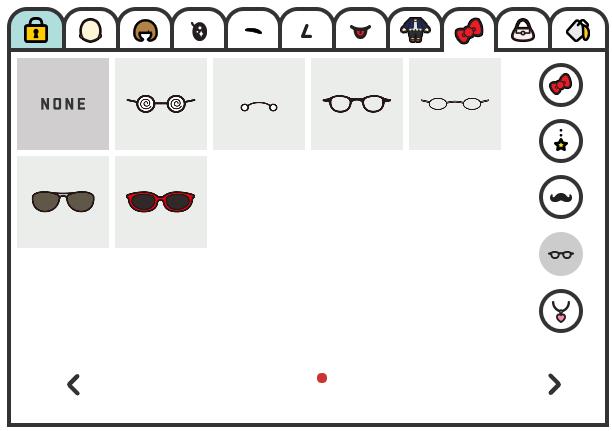 ちゃんりお、メガネ系パーツ