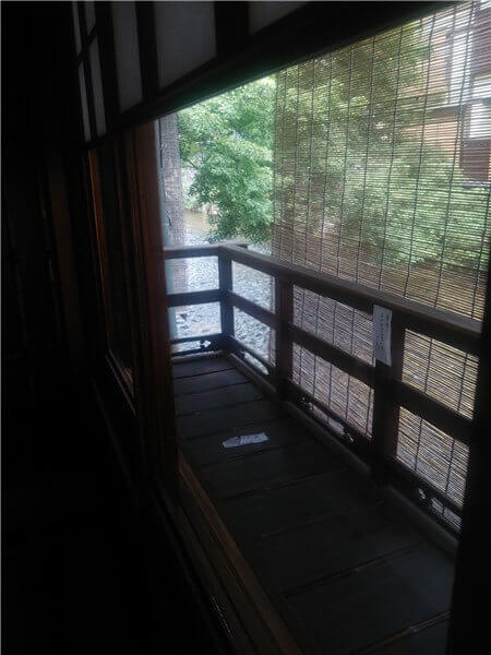 座敷から見える川沿いの景色