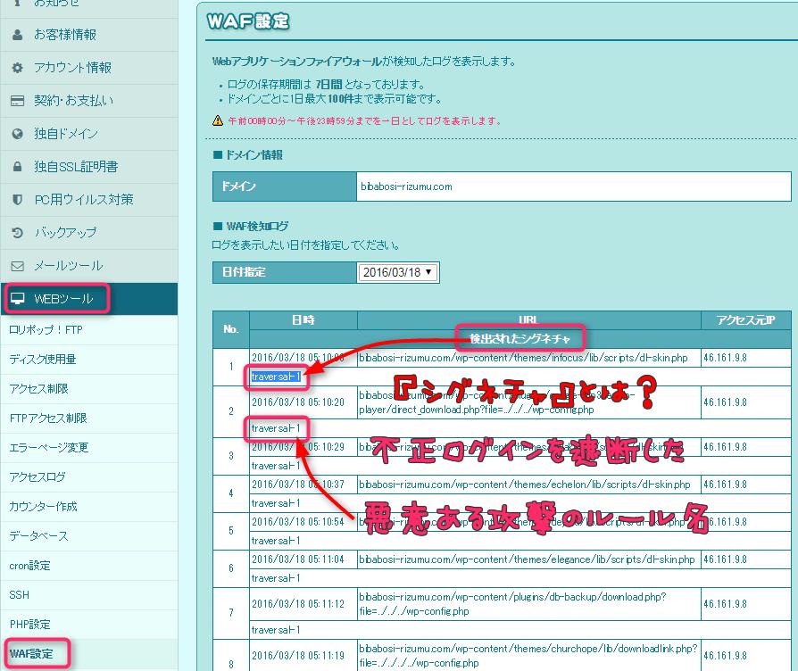 ロリポップのWAFのログ参照画面