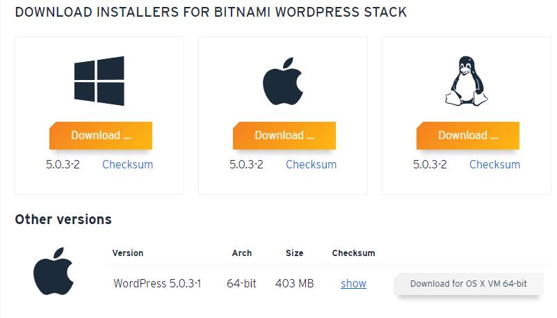 BitnamiのWindowsダウンロード