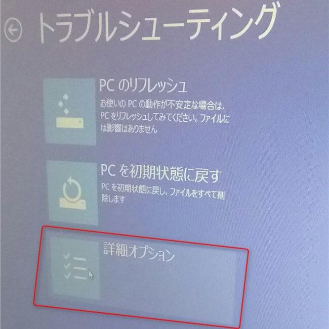 2.トラブルシューティング→詳細オプション