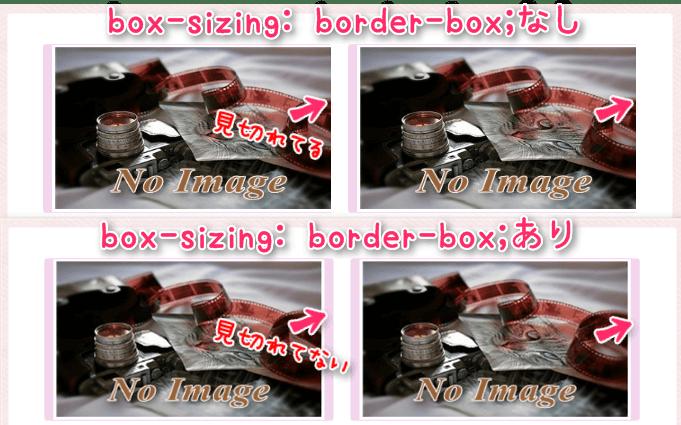 box-sizing:border-box;あるなしの比較画像
