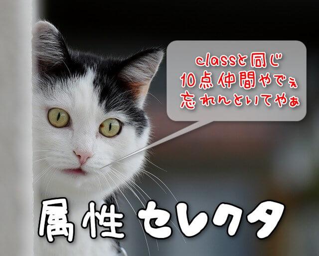 優先順位がclassと同じ属性セレクタ:青年のとぼけた猫