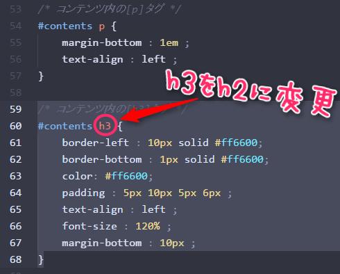 CSSのhタグh3をh2に変更