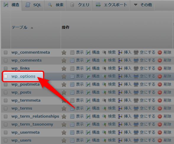 phpMyAdminデータベースのwp_optionsの場所