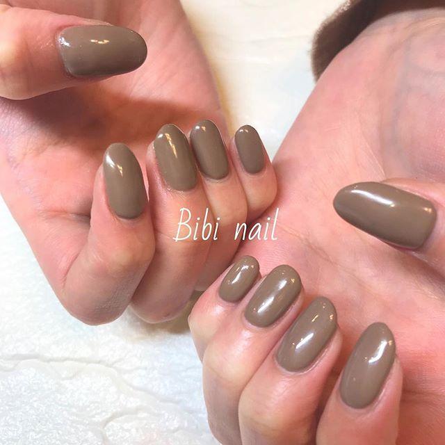 お客様nail,brown,.シンプルなワンカラー.nailnailartnails