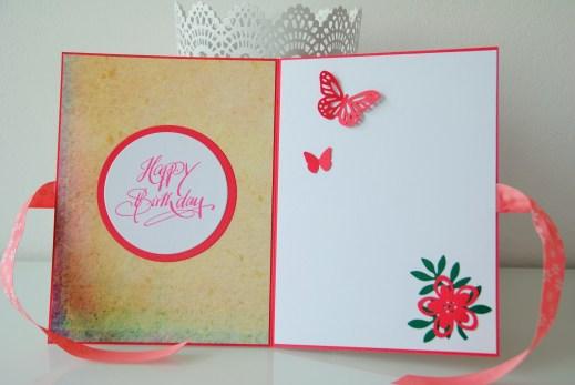 Geburstagskarte Rose, Schmetterling, handgemacht, einzigartig_1