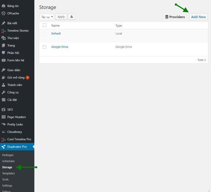 Duplicator Pro Add New Storage