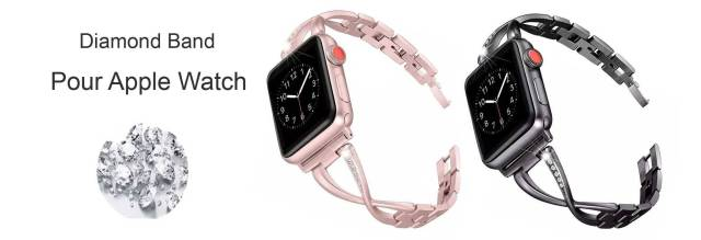 Bracelet Apple Watch Femme maillons sertie de strass