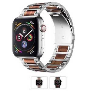 Bracelet Acier et Bois de santal pour Apple Watch