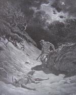 Gravure Gustave Doré la Bible Meurtre d'Abel