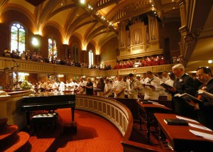 the church discipline of gathering together to speak in hymns evidenced in a church in new york.