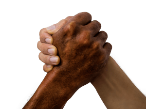 friends clasping hands in collaboration