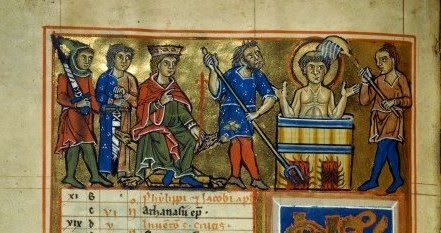 Psalter_Martyrdom SJE_German (Hildesheim)_1230-40_Nouvelle acquisition latine 3102_fol. 3v_BNF