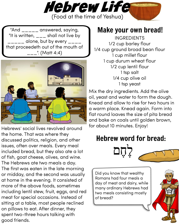 Hebrew Life Hebrew Food Worksheet For Kids