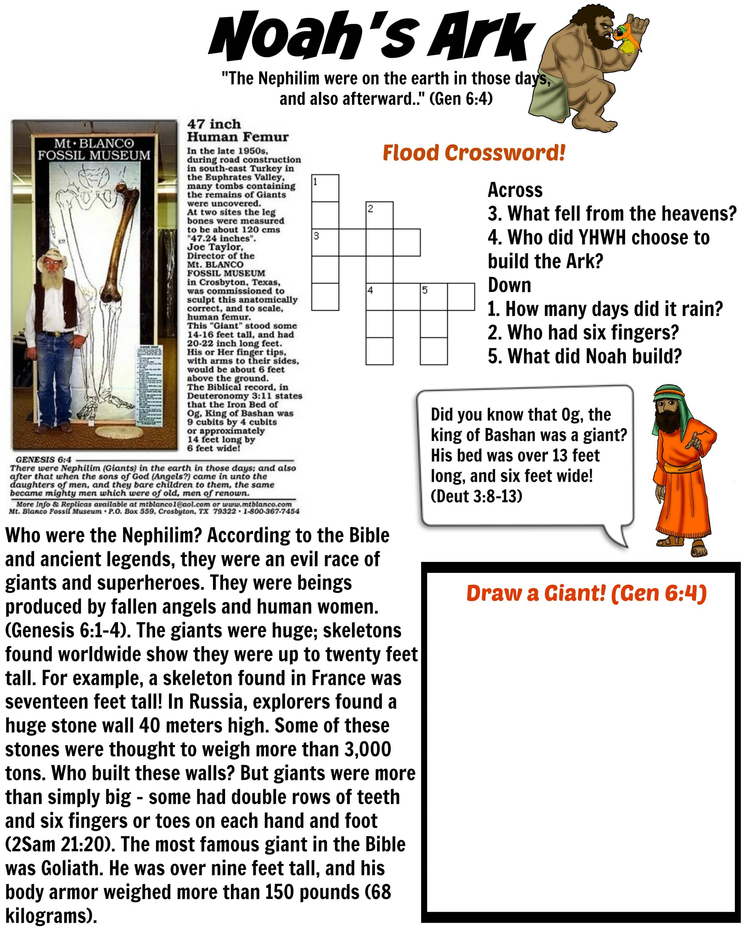 Noah S Ark Worksheet Nephilim Giants Bible Pathway