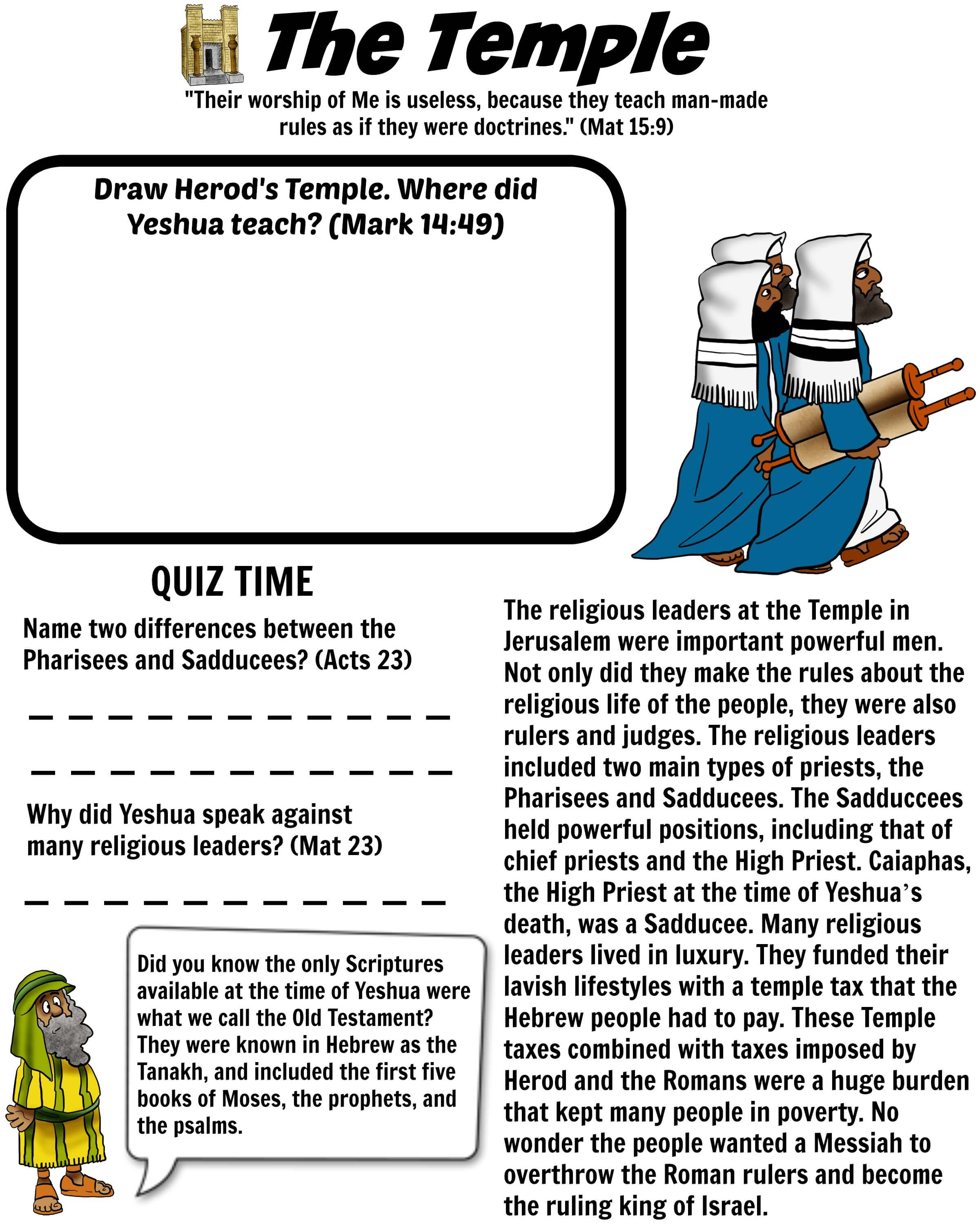 The Temple Worksheet Pharisees Amp Sadducees Bible Pathway Adventures