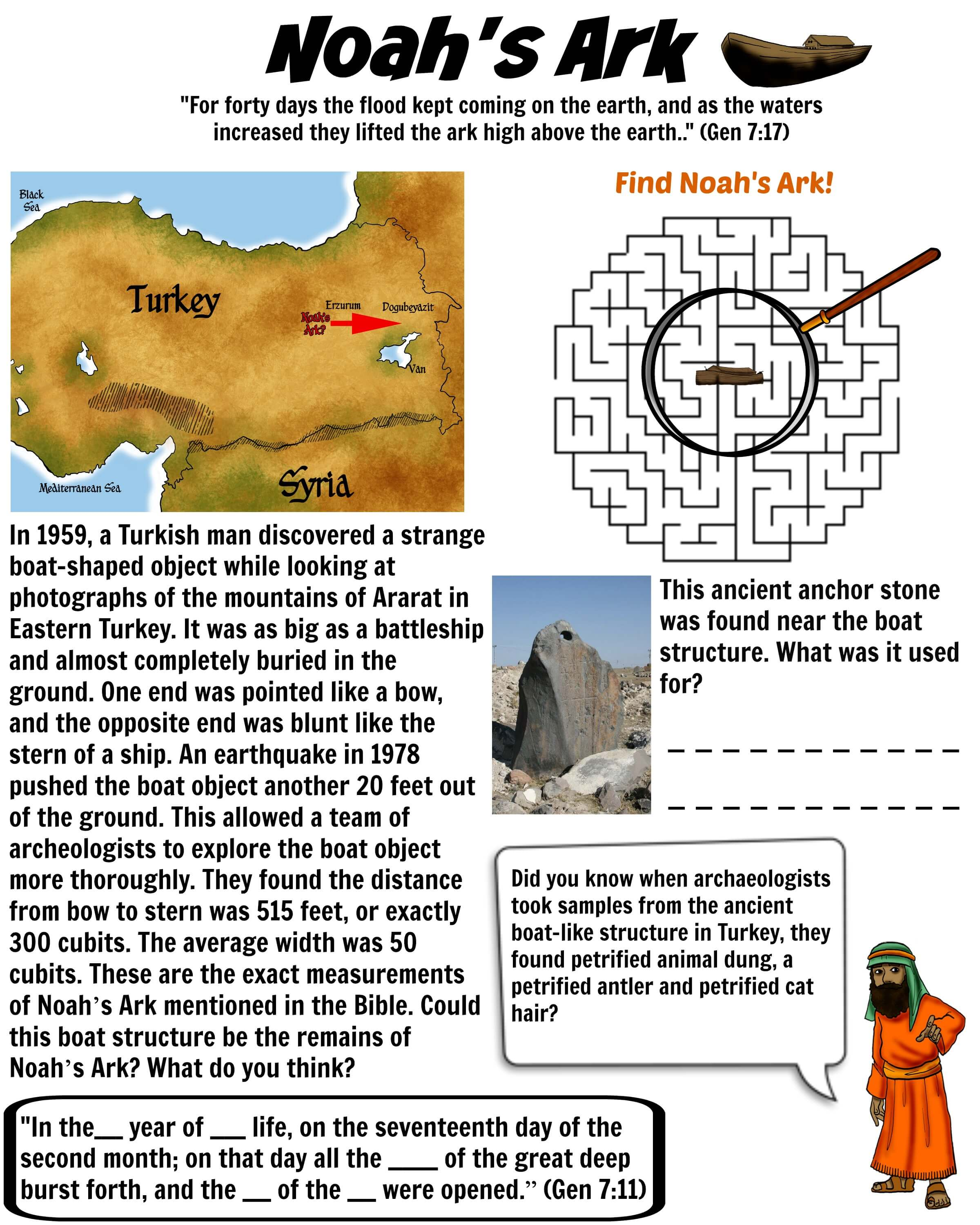Noah S Ark Worksheet Turkey Bible Pathway Adventures