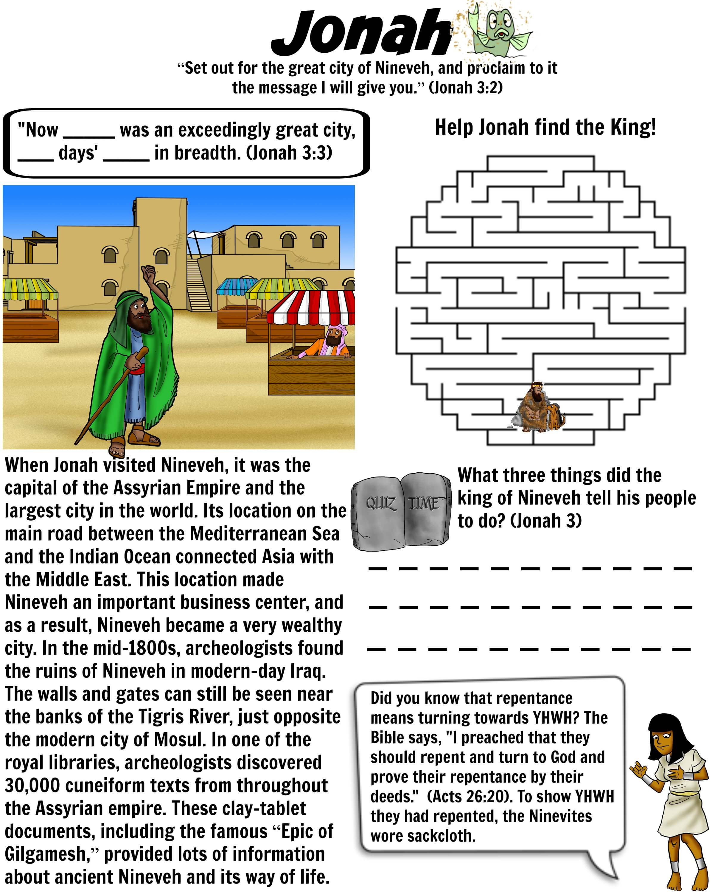 Jonah Worksheet Nineveh Bible Pathway Adventures