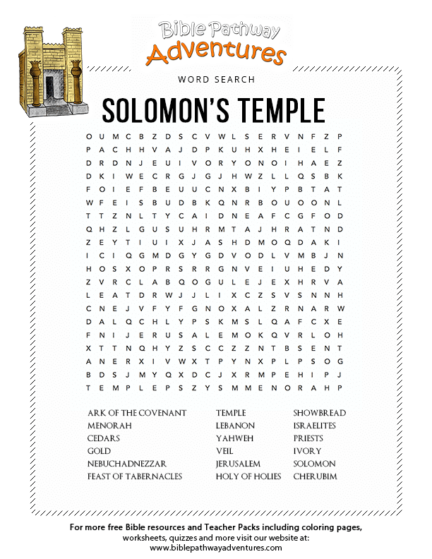 Bible Word Search Solomons Temple Free Download