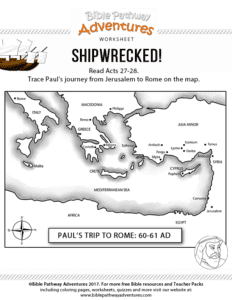 Free Bible Lesson For Kids Shipwrecked Pauls Final