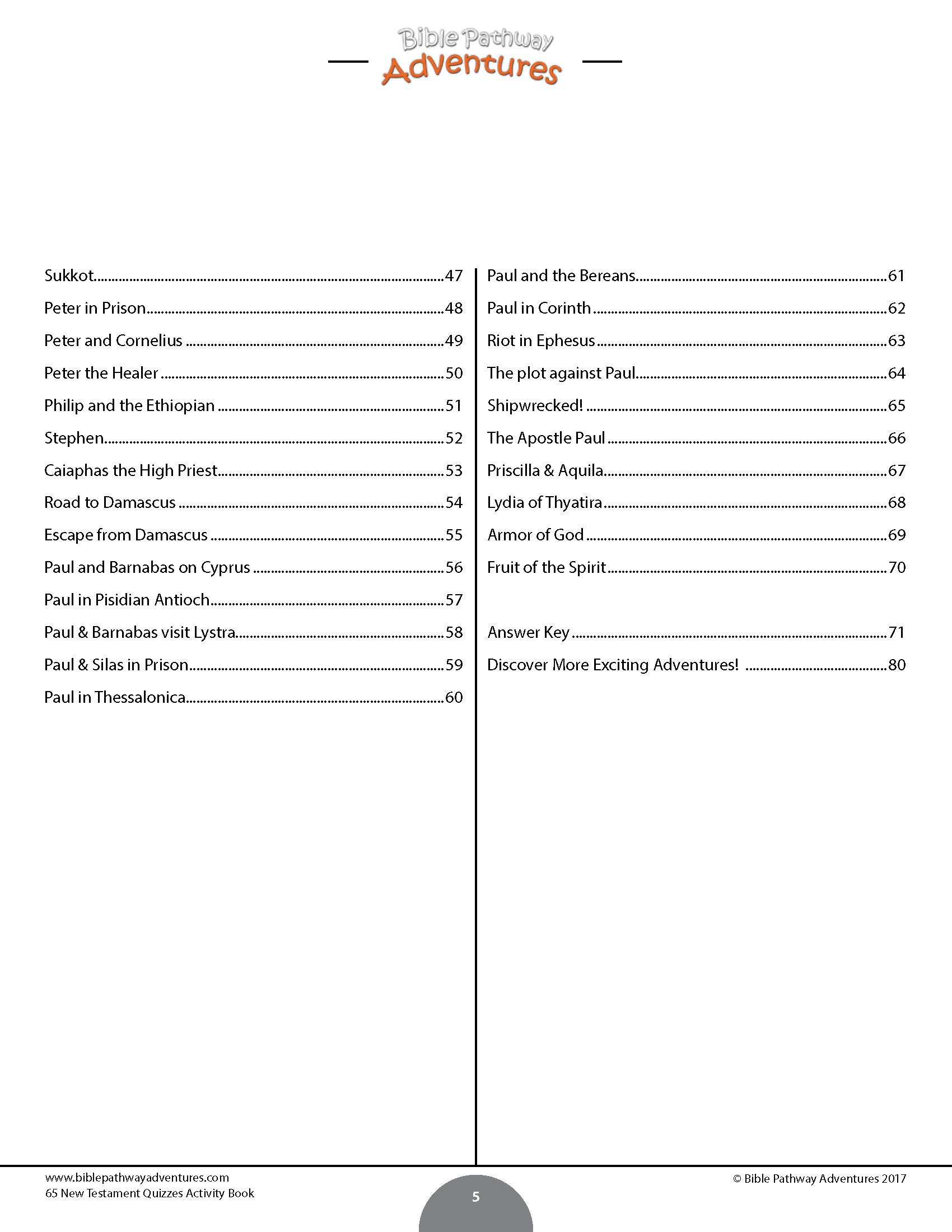 New Testament Quiz Book Bible Pathway Adventures