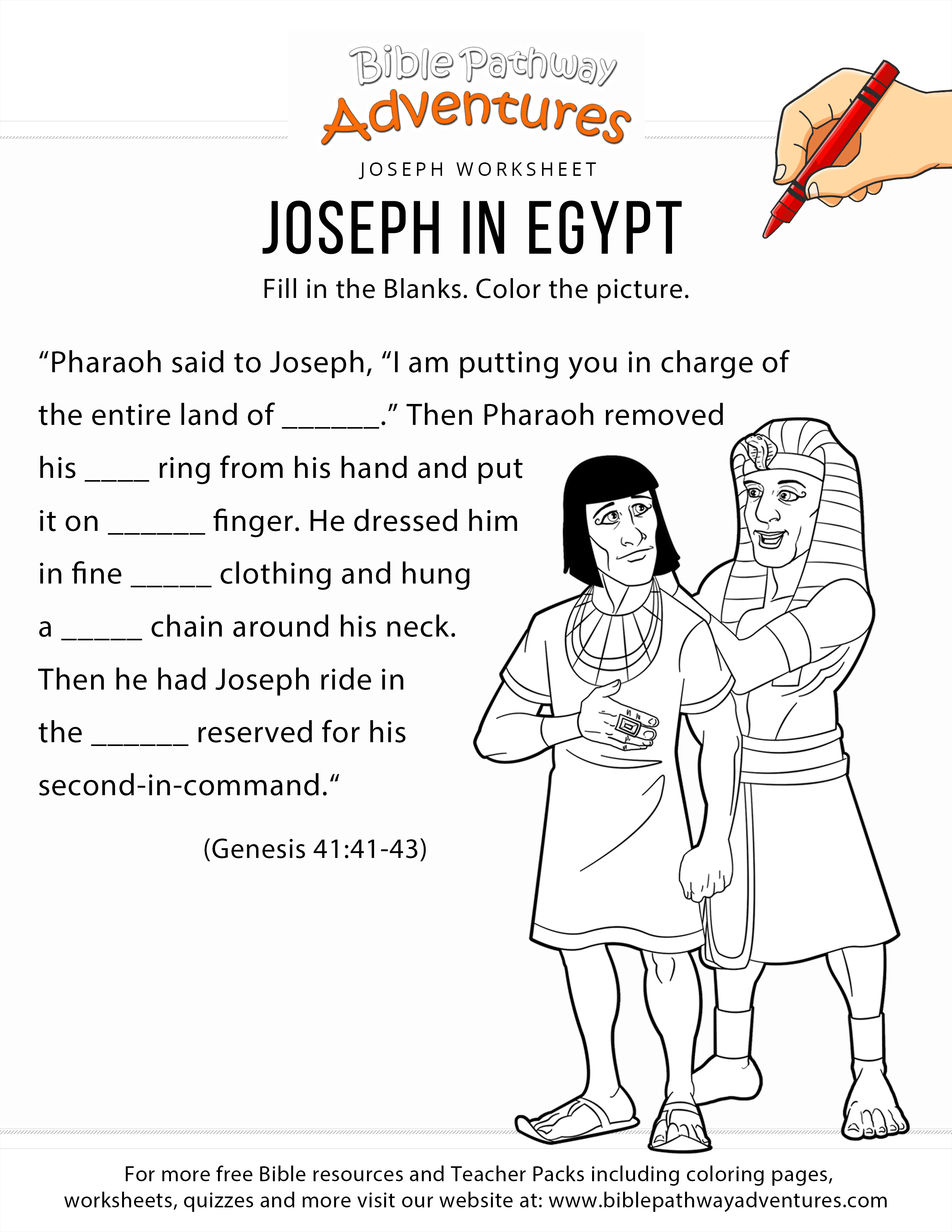 Joseph In Egypt Worksheet And Coloring Page Bible