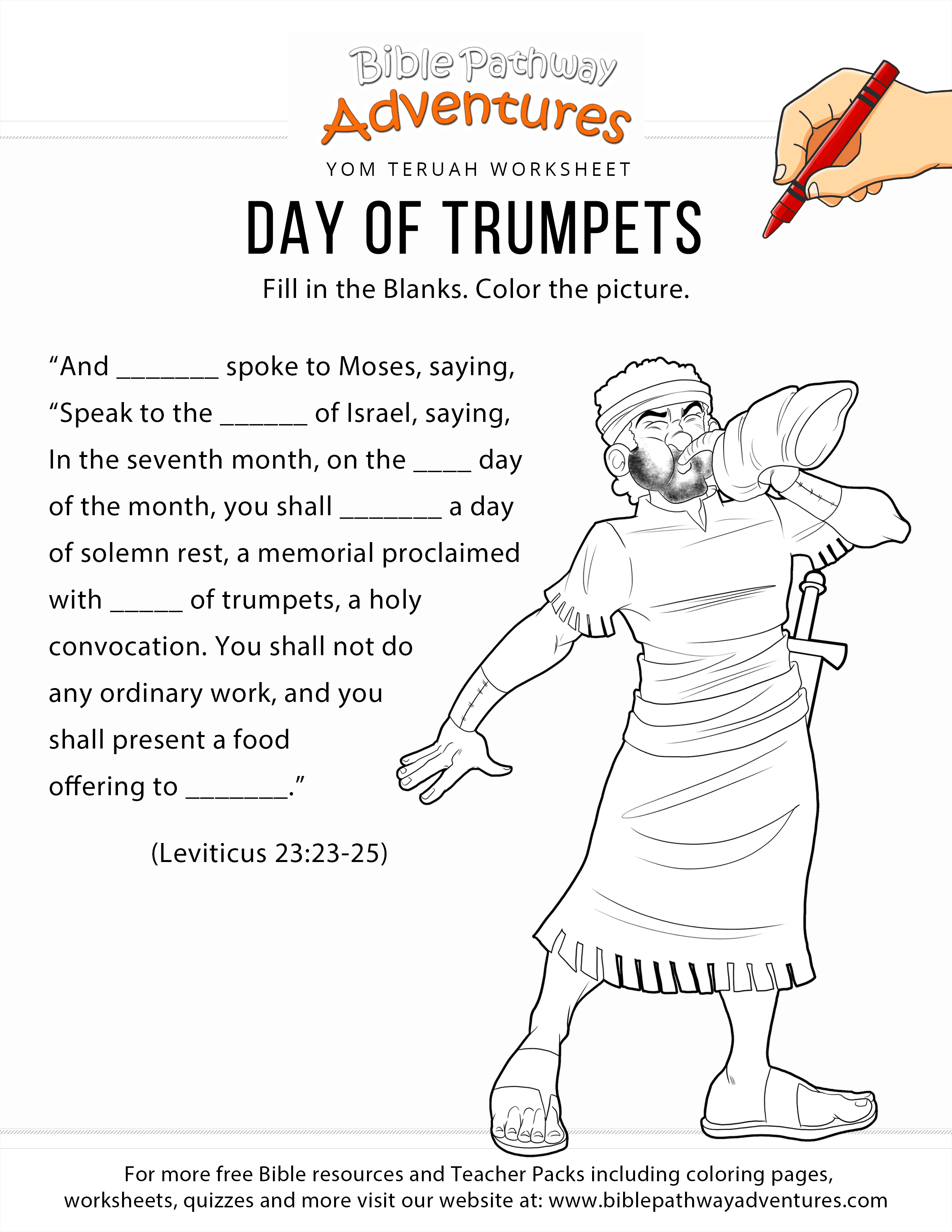 Day Of Trumpets Worksheet And Coloring Page Bible