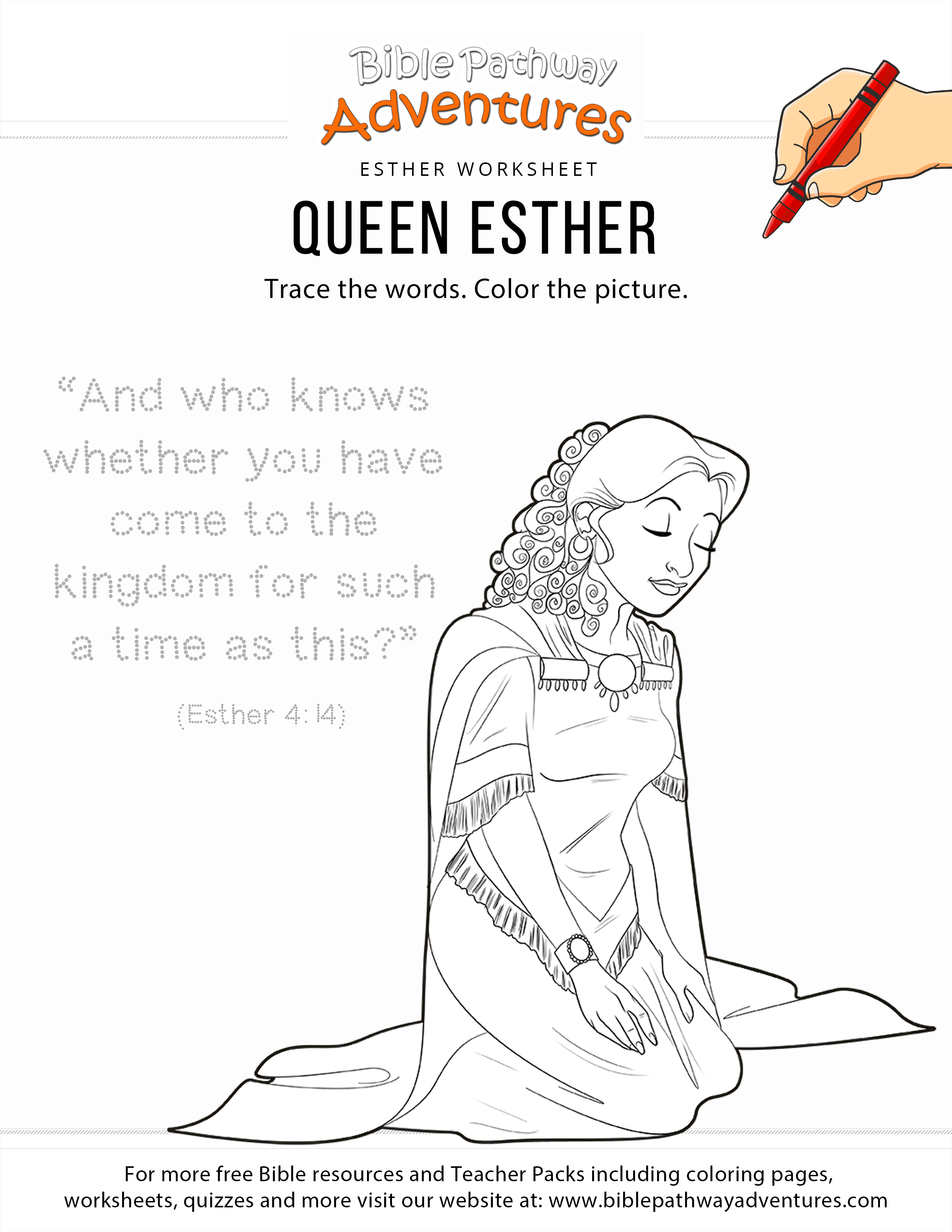 Queen Esther Copywork And Coloring Page Bible Pathway