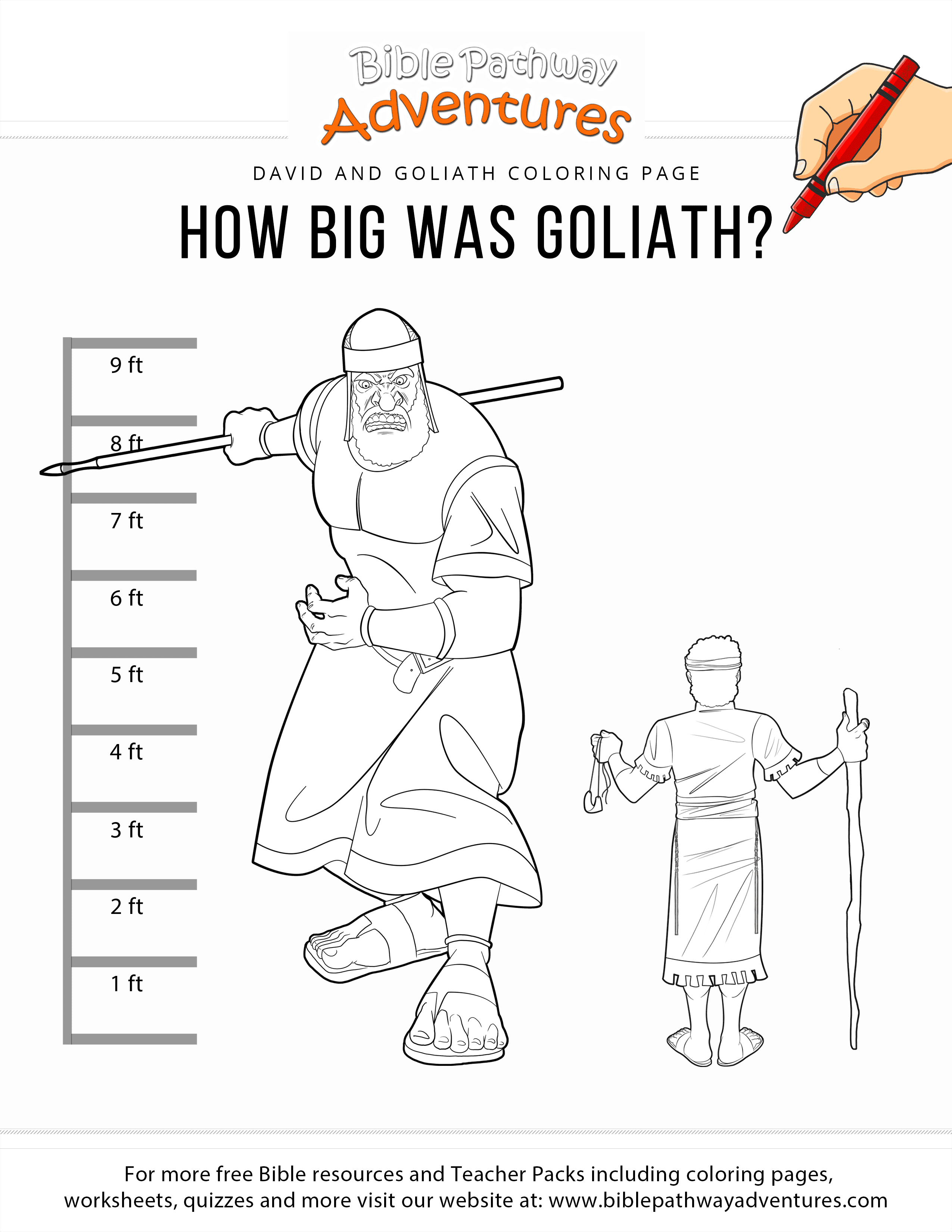 How Big Was Goliath Coloring Page Bible Pathway Adventures