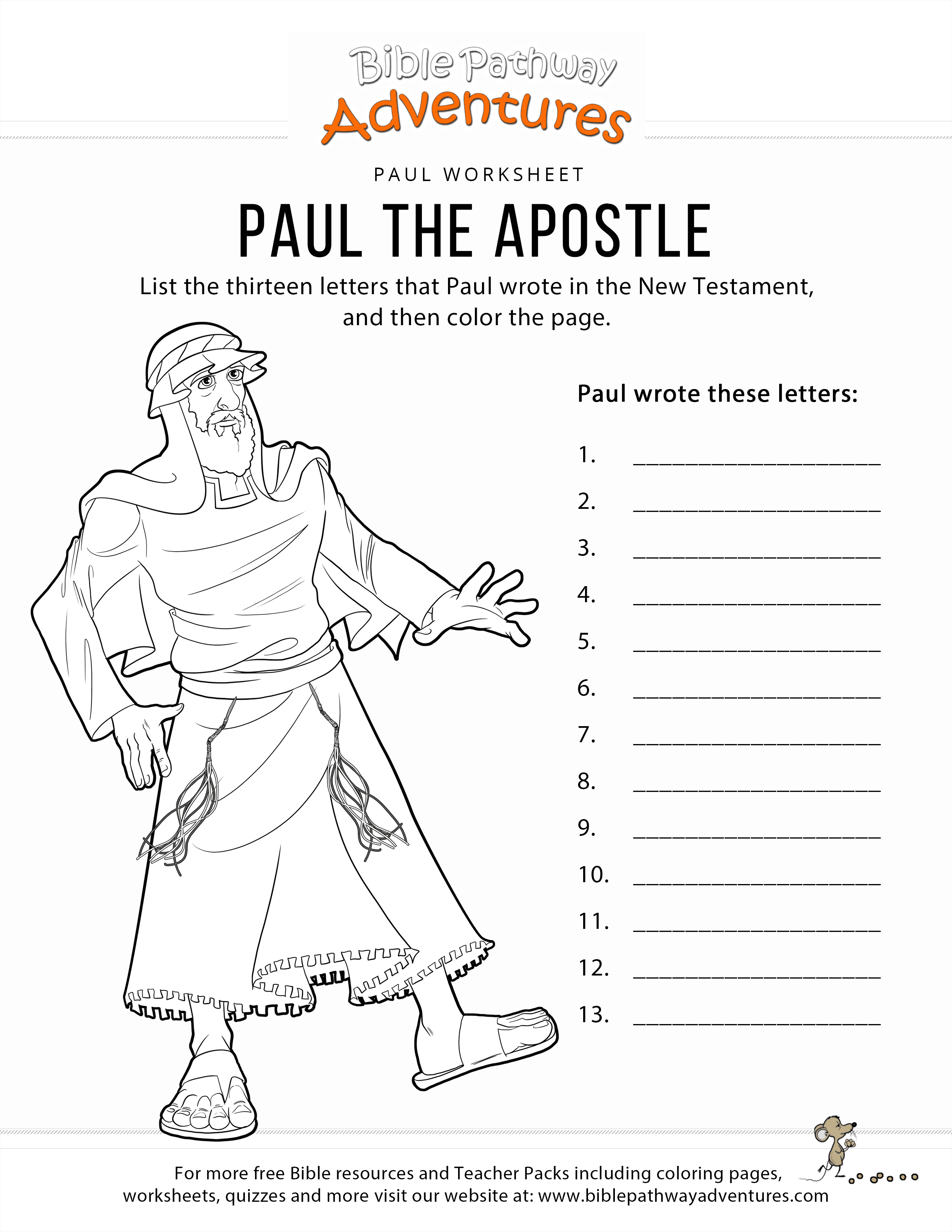 Paul The Apostle Worksheet Amp Coloring Page Bible Pathway